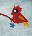 Red bird in blue