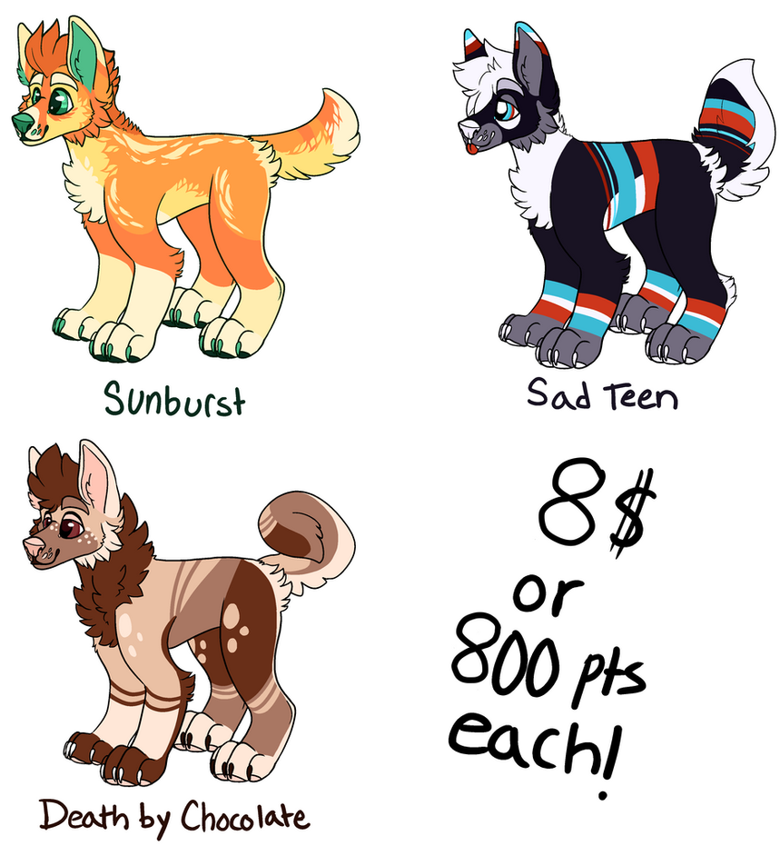 [44] Canine adoptables (3/3 OPEN- PRICE LOWERED) by Serene-is-Sweet