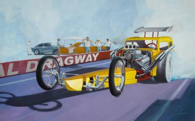 Vintage dragster on take-off.