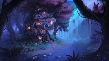 House in the woods night verion