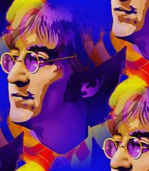 John Lennon looking through a glass onion