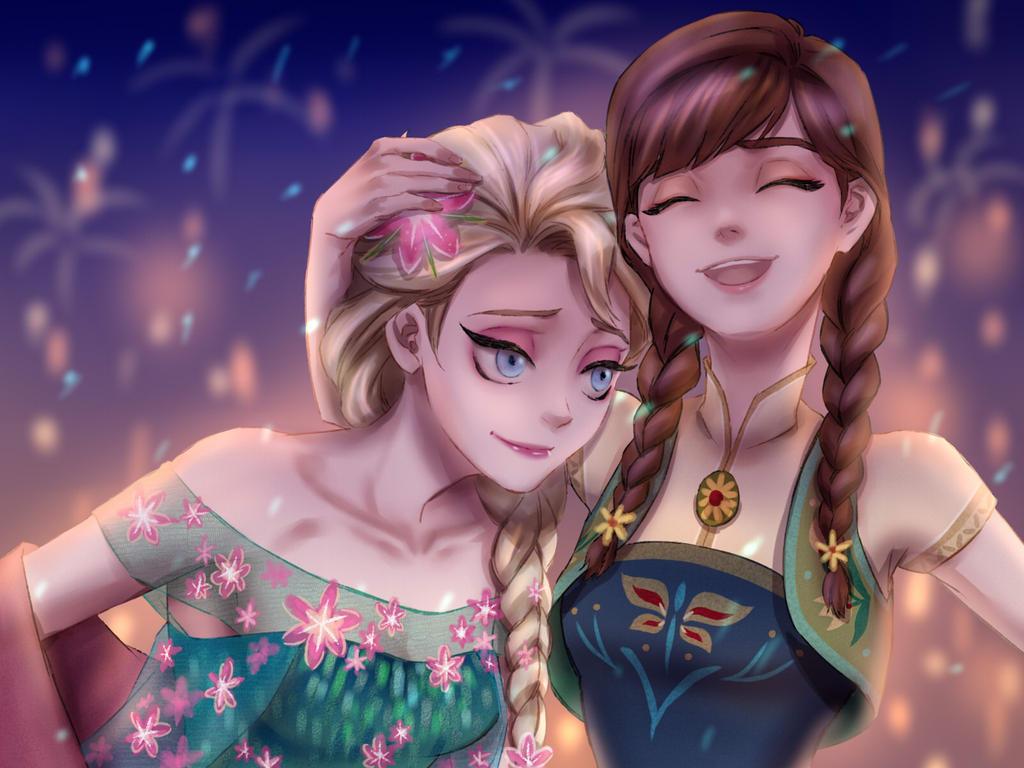 [Court-Métrage Walt Disney] La Reine des Neiges : Une Fête Givrée (2015)   - Page 19 Elsa_and_anna_by_drchopper7-d8iqkpe