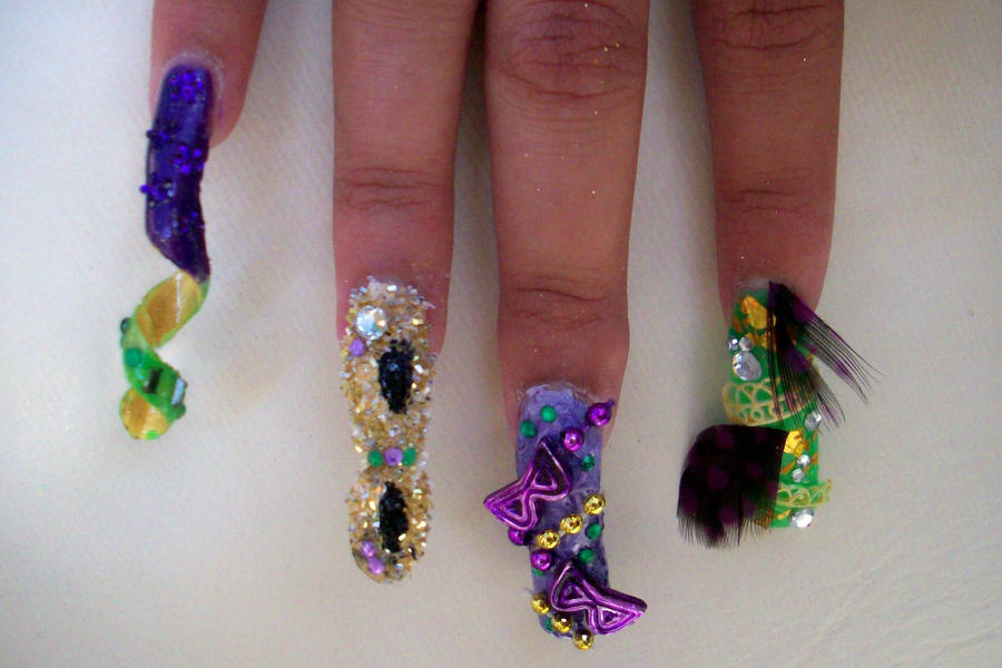 Hairshow: Mardi Gras nails by Bretagne-Revenge on DeviantArt