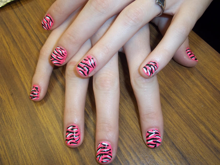 Pink And Black Zebra Nails By Bretagne Revenge On Deviantart