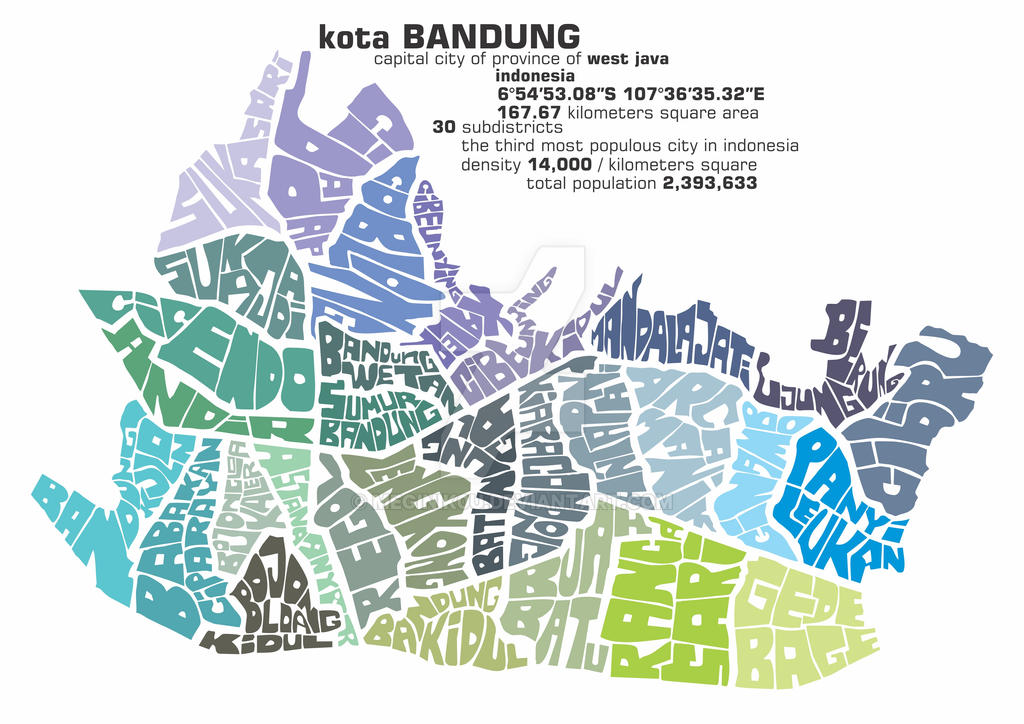 Bandung City Typography map 2 by meginik0u on DeviantArt