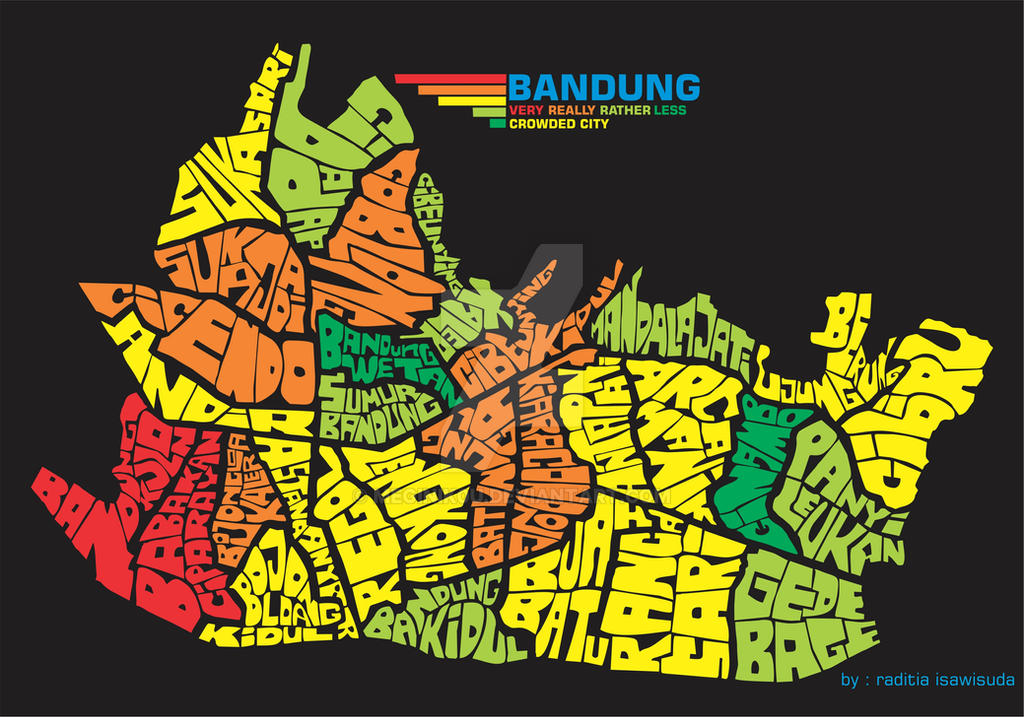 Bandung Typography map by meginik0u on DeviantArt