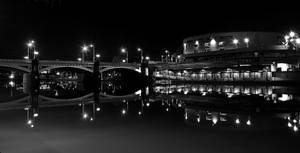 Princes Bridge BW Night by daniellepowell82