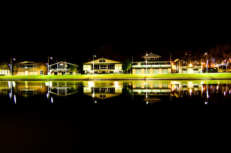 Night: Melbourne Rowing Sheds by DanielleMiner