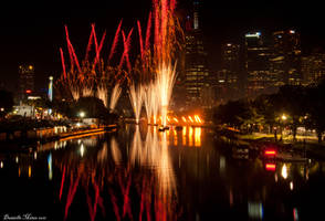 Moomba Fireworks Cityscape by daniellepowell82