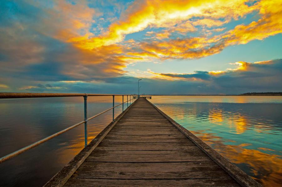 Rippleside Sunrise Pier by DanielleMiner
