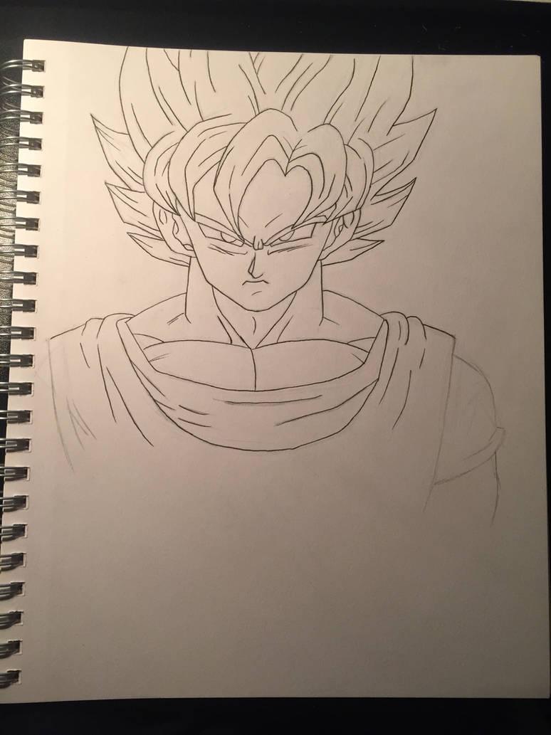 Goku pencil drawing inking in progress by herculesaiyan