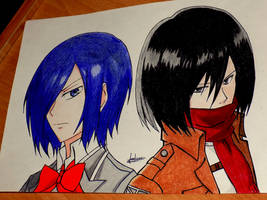 Strong girls! Touka and Mikasa by Anna-Knightley