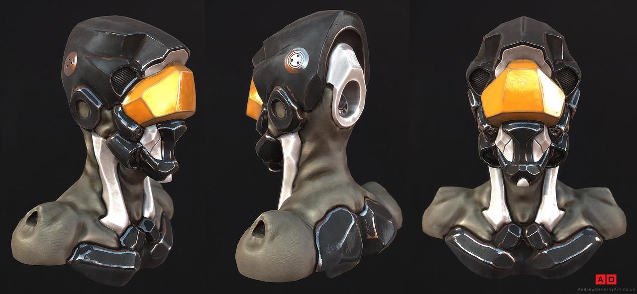 Cyborg Head turnaround by Laggyzaki