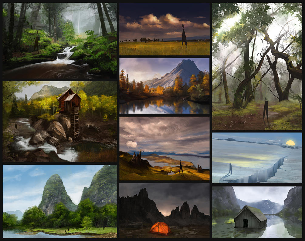 Environment Speed Painting Studies by Laggyzaki