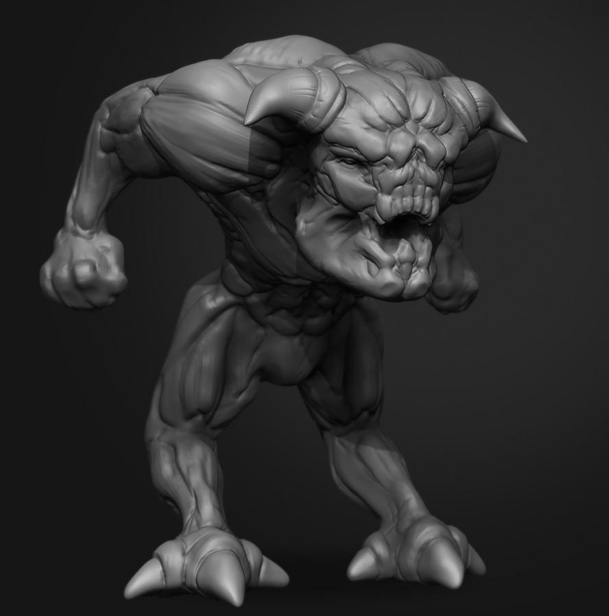 Doom Pinky rough sculpt by Laggyzaki
