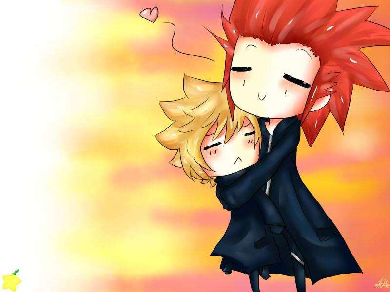 Chibi Akuroku Hug by HappySmileGear