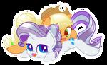 Applejack and Rarity - Crystal cuddles