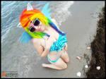 (MLP) Rainbow Dash at the Beach (Bikini Cosplay)