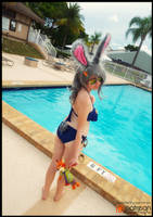 Judy Hopps at the Annual Unit Pool Party (Cosplay) by KrazyKari