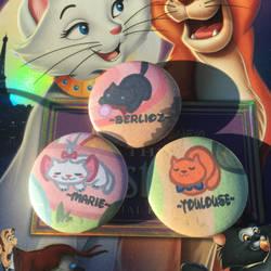 (Disney) The Aristocats Neko Atsume Buttons Set