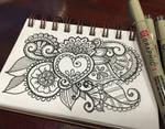 Black and white heart  flower design