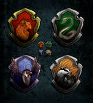 Shields of four Hogwarts houses.