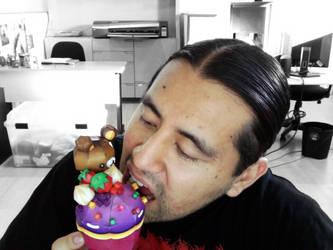 tasting a happy cupcake