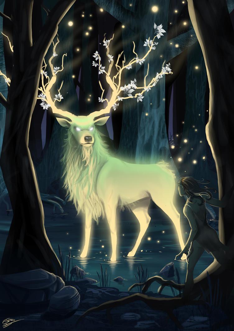 Night deer by Evilddragonqueen
