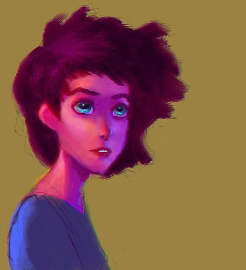 Cartoon girl by elbardo