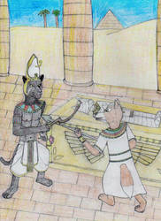 Prince Fox confronts Pharaoh Panther by MellowSunPanther