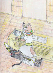 Prince Fox unmummifies Princess Krystal by MellowSunPanther