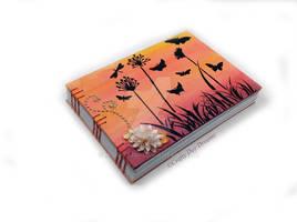Sunset butterflies painted canvas book