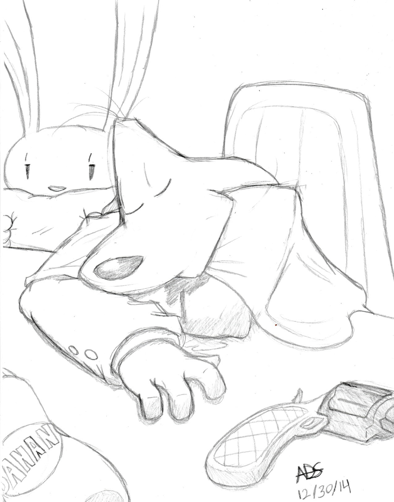 Sam and Max: Tired Police (No color) by ADSHedgehog