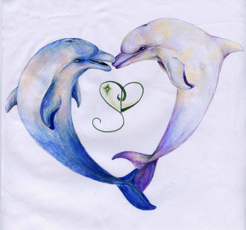 It is a picture of Challenger Dolphin Heart Drawing