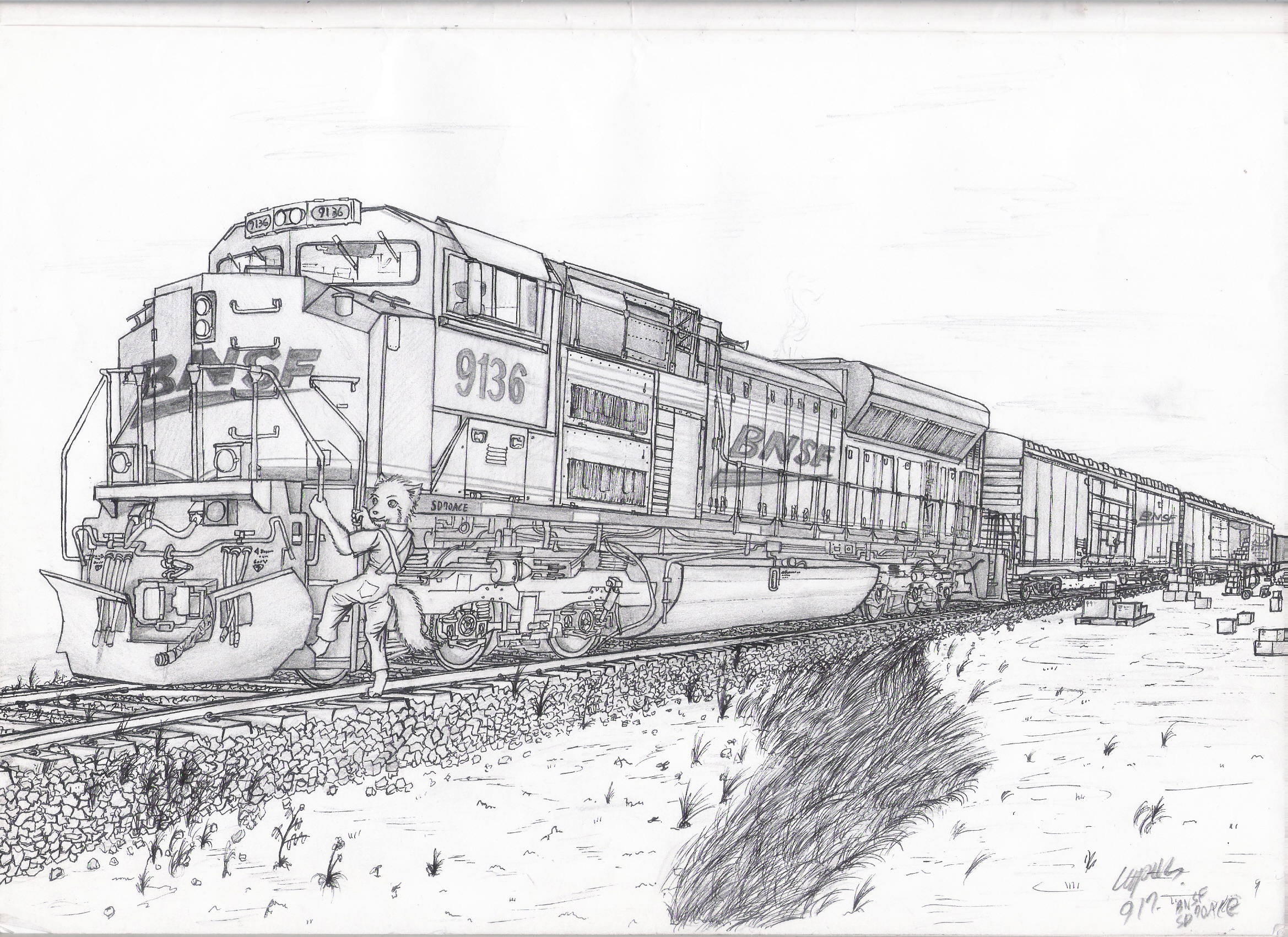 Bnsf 9136 emd sd70ace by orang111 on deviantart for Amtrak coloring pages