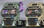 Between the trucks