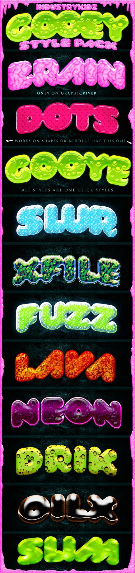 Slime Gooey Photoshop Layer Styles by Industrykidz