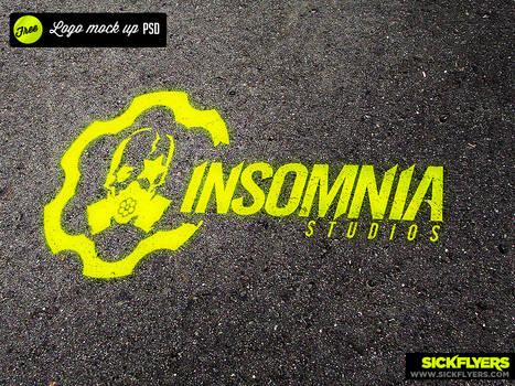 Free Logo Mock up Spray Paint psd