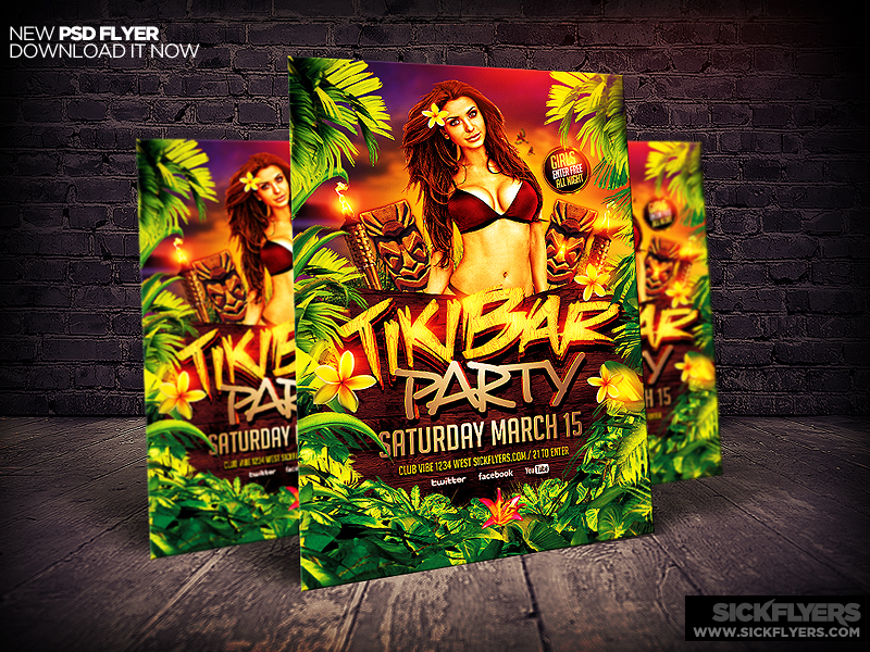 Tiki Bar Party Flyer Template V2 By Industrykidz On Deviantart