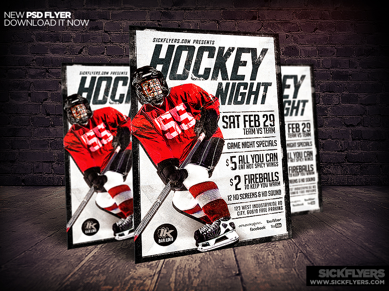 hockey flyer template psd by industrykidz on deviantart. Black Bedroom Furniture Sets. Home Design Ideas
