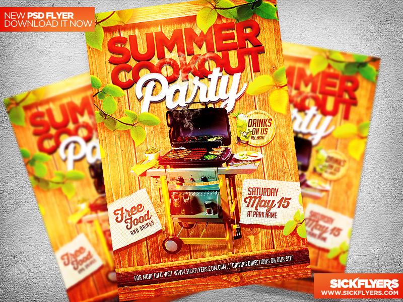 Summer Cookout Party Flyer Template PSD by Industrykidz on DeviantArt pAyE4XUd
