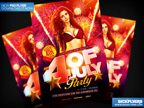 Four Of July Flyer Template PSD