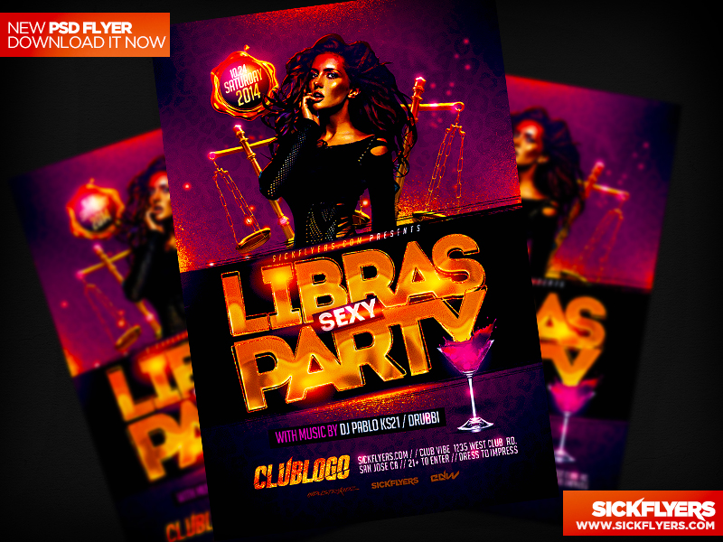 Libra Party Flyer Template PSD by Industrykidz