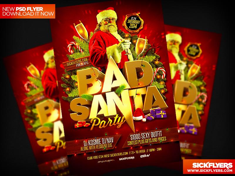 Bad Santa Flyer Template PSD by Industrykidz