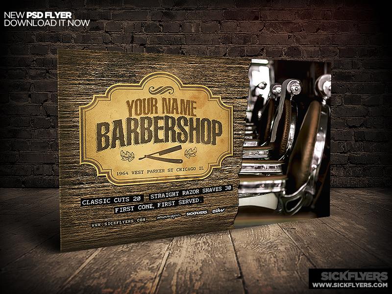Barbershop Flyer Template Horizontal PSD