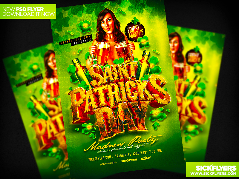 Saint Patricks Day Madness Party Flyer by INDUSTYKIDZ
