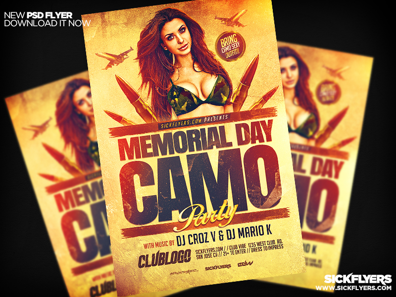 Memorial Day Camo Flyer Template PSD by Industrykidz