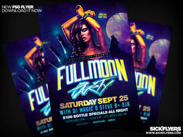 Fullmoon Party Flyer Template PSD