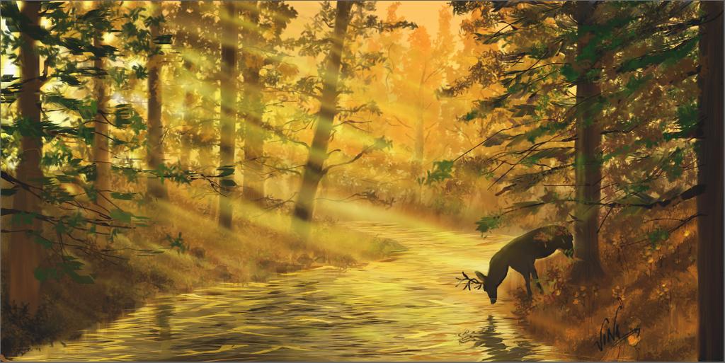Deer in woods by vinigal123