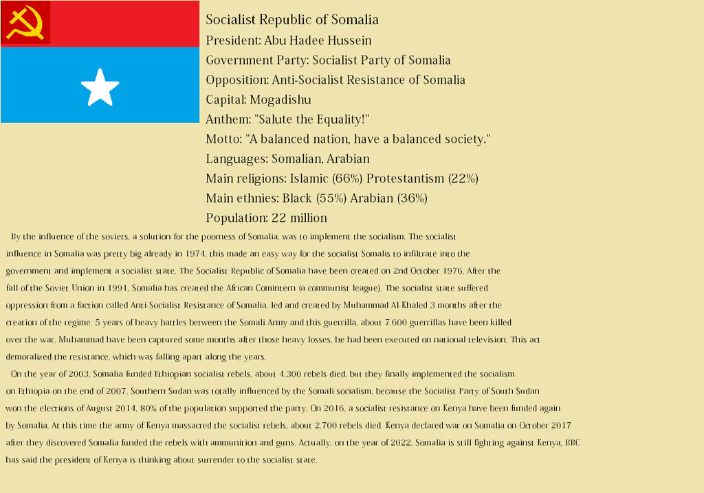 Socialist Republic of Somalia [Alternate History] by Tictoctuc on